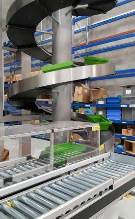 Totes climb the innovative spiral conveyor to the robot picking area