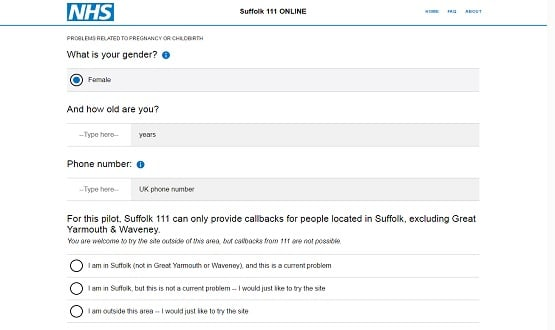 Screenshot from Suffolk's NHS 111 Online