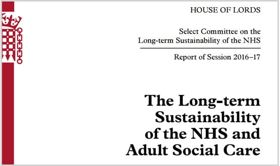 Front cover of Long-term sustainability of the NHS and Adult Social Care