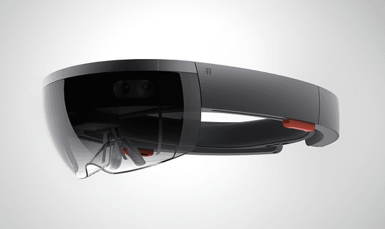 The Microsoft HoloLens headset using a combination or VR and AR