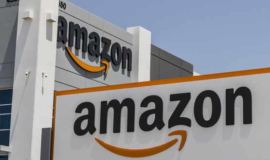 The Amazon logo adorns one of its corporate buildings