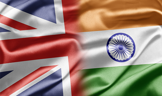 Union Jack and Indian flag
