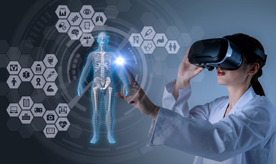 Medical woman using virtual reality