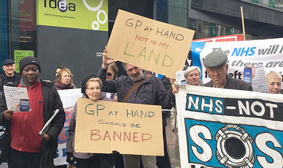 People protesting GP at Hand