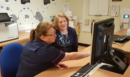 The children's commissioner for England Anne Longfield receives a demonstration of CP-IS at Royal Bolton Hospital