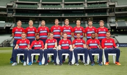 England players pose for the Twenty20 T20 international series team photo at the Melbourne Cricket Ground on February 9, 2018 in Melbourne, Australia.
