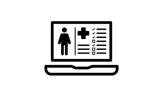 A graphic representing patient data on a laptop computer