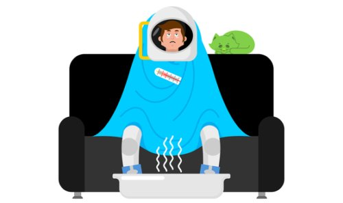 A cartoon of an ill man in a space helmet