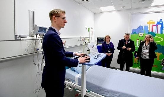 The lab has a 'smart room' which simulates a hospital room