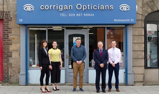 The Northern Ireland Electronic Care Record (NIECR) expands to include community optometrists and improve patient eye care. Pictured from left to right: Margaret McMullan, Clinical Optometric Adviser, Health and Social Care Board; Caitriona Bradley, Project Support (eHealth), Business Services Organisation; Gavin Corrigan, Optometrist, Corrigan Opticians; Nick Willox, Sales Director, Orion Health; Stephen Beattie, eHealth Programme Manager, Business Services Organisation